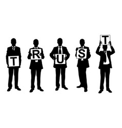 silhouettes of businessmen holding panels vector image