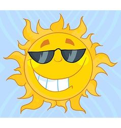 Smiling Sun Mascot Cartoon Character With Sunglass vector