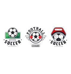soccer football league logo set sports team vector image