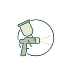 Spray gun round concept colored icon vector