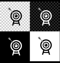 target with arrow icon isolated on black white vector image