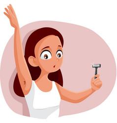 Teen girl shaving armpit cartoon vector