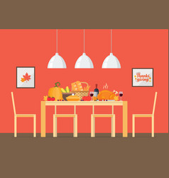 thanksgiving day invitation with interior dining vector image