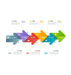 Timeline chart infographic template with arrows 6 vector