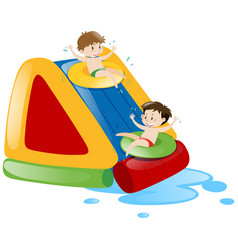 Two boys sliding down the water slide vector