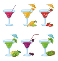 Vases and glass of juice fruits berries vector image
