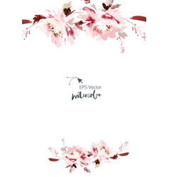 Watercolor card with flowers on a white background vector