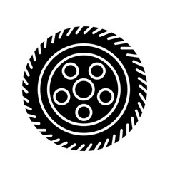 wheel car icon black sign on vector image