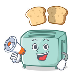with megaphone toaster character cartoon style vector image