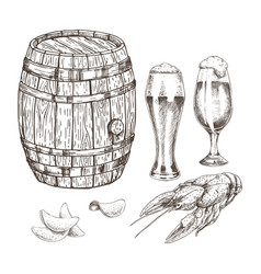 Wooden keg beer goblets and appetizer graphic art vector