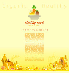 Yellow autumn farmers market fruit and vegetable vector