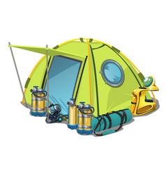 Yellow tent with equipment for diving isolated on vector