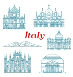 Architecture and nature travel landmarks of italy vector