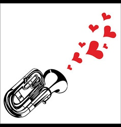 Heart love music trumpet playing a song for valent vector image
