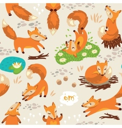 Seamless pattern with little cute foxes vector image vector image