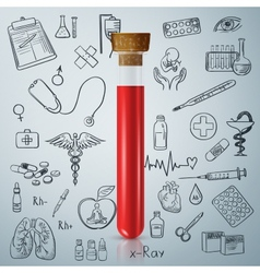 Test tube and hand draw medicine icon vector image