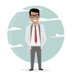 cartoon doctor in uniform and tie character man vector image