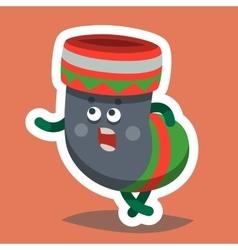 Emoticon Icon Happy New Year Sock vector image