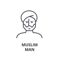 muslim man line icon outline sign linear symbol vector image