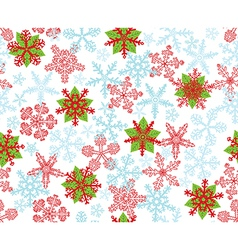 Poinsettias Snow Flakes vector image vector image