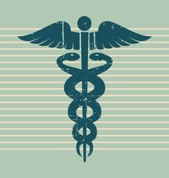 vintage medical caduceus vector image