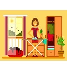 young woman ironing on iron board vector image