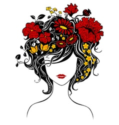Abstract beautiful girl with flowers in hair vector image vector image