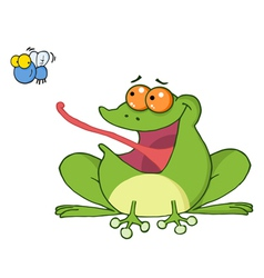 Frog Catching A Fly vector image