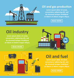 oil industry gas banner horizontal set flat style vector image