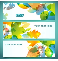Three Banners of Shiny Colorful Autumn Leaves vector image vector image