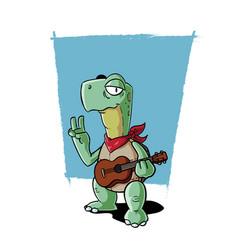 ukulele playing turtle vector image vector image