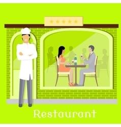 Urban restaurant facade with customers vector