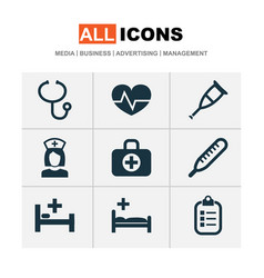 antibiotic icons set collection of surgical bag vector image
