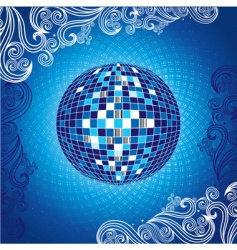 background with blue disco ball vector image vector image