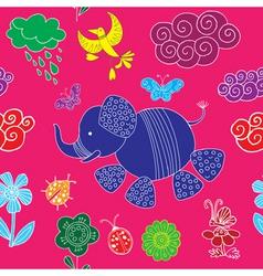decorative elephant pattern vector image vector image