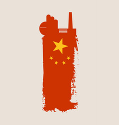 isolated factory icon and grunge brush china flag vector image vector image