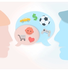 Man and woman speech bubbles vector image