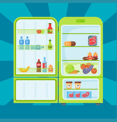 refrigerator organic food kitchenware household vector image