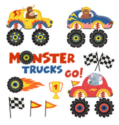 set of isolated monster trucks with animals part 2 vector image
