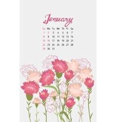 Vintage floral calendar 2017 vector image