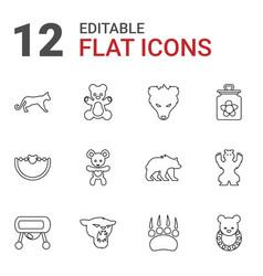 12 bear icons vector image