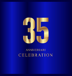 35 year anniversary celebration gold blue vector image