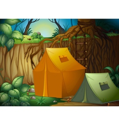 A tent camp in the woods vector image