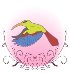A vivid flying hummingbird vector