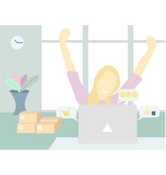 a women being happy for her online business vector image