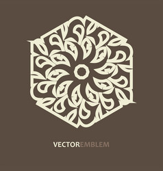 abstract hexagon emblem vector image