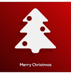 Abstract paper cut christmas tree with long shadow vector image