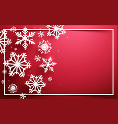 abstract snowflakes on red background vector image