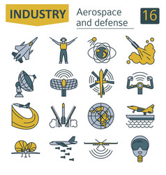 Aerospace and defense military aircraft icon set vector