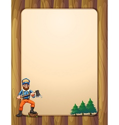 An empty wooden frame with a lumberjack holding vector
